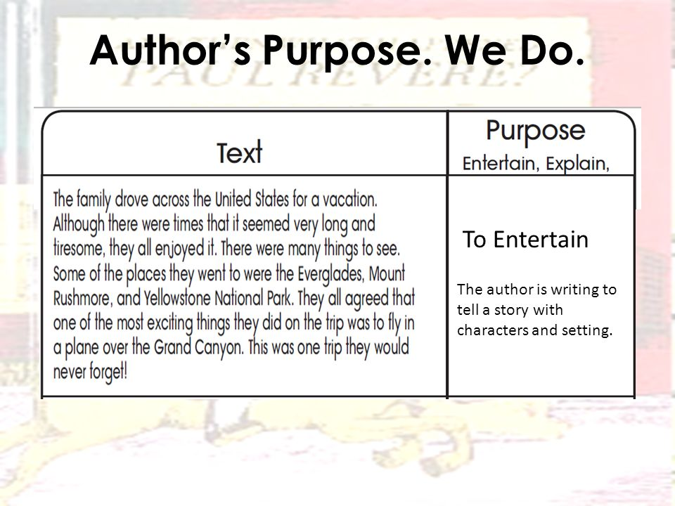 Author's Purpose. We Do.