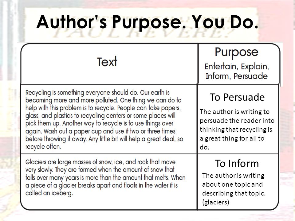 Author's Purpose. You Do.