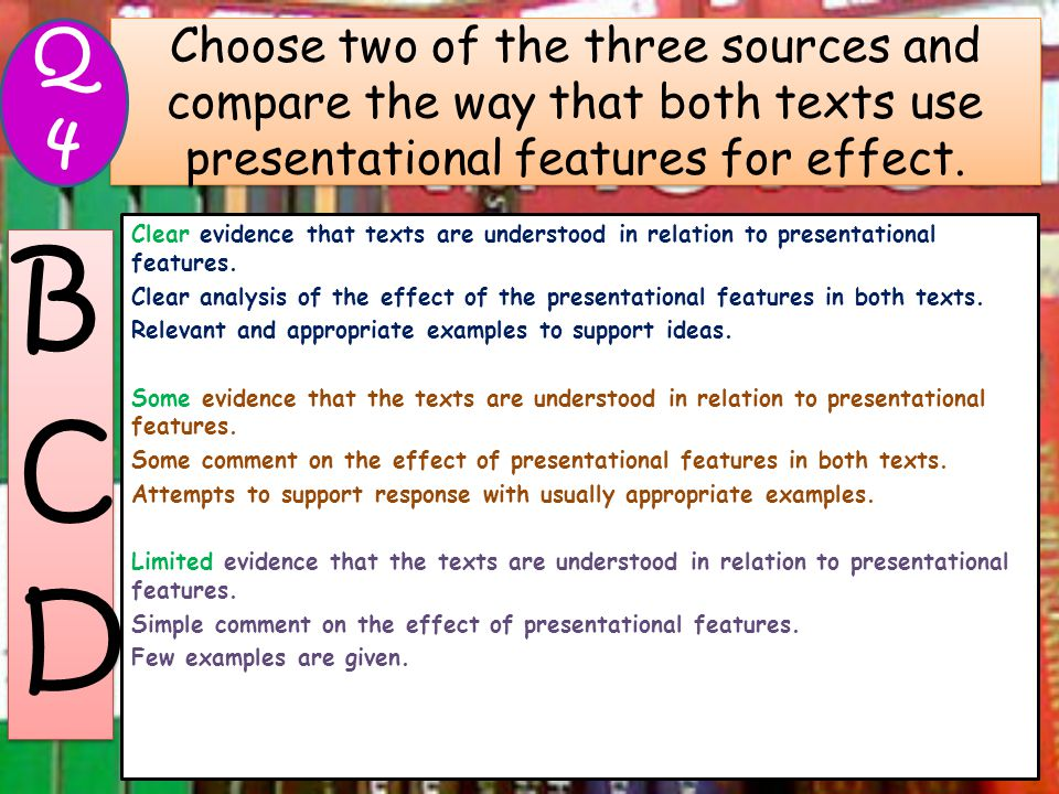 Choose two of the three sources and compare the way that both texts use presentational features for effect. Clear evidence that texts are understood i