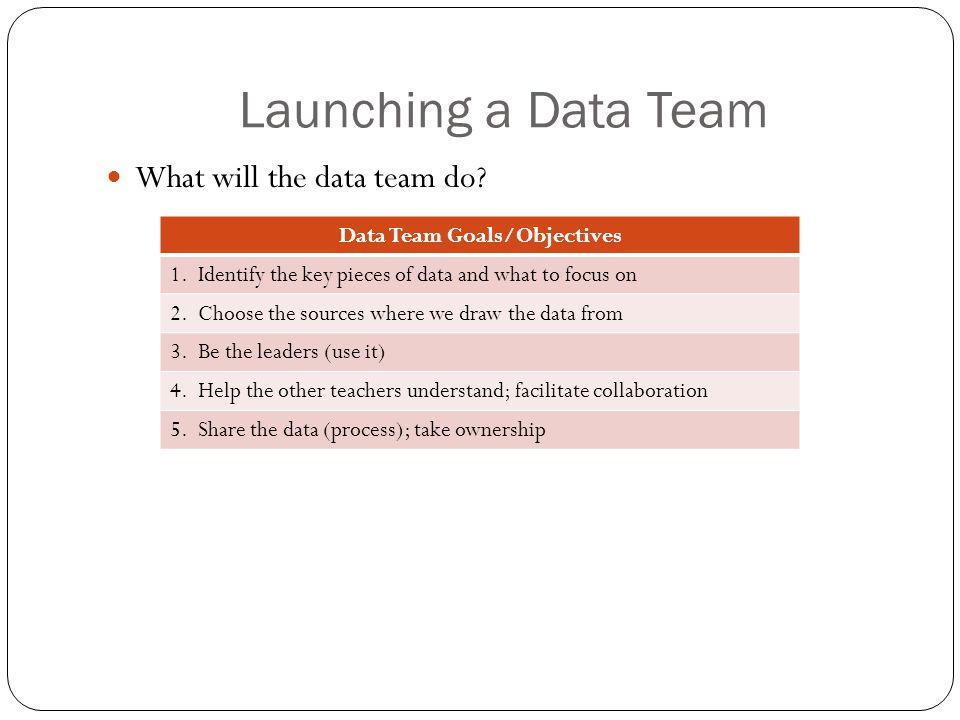 Launching a Data Team What will the data team do. Data Team Goals/Objectives 1.
