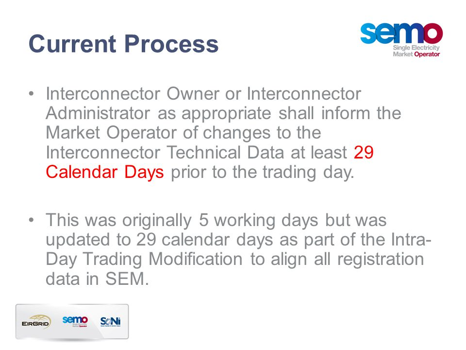 Current Process Interconnector Owner or Interconnector Administrator as appropriate shall inform the Market Operator of changes to the Interconnector Technical Data at least 29 Calendar Days prior to the trading day.