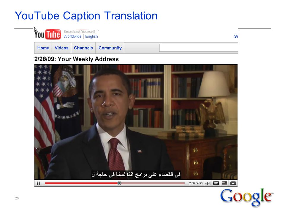 26 YouTube Caption Translation