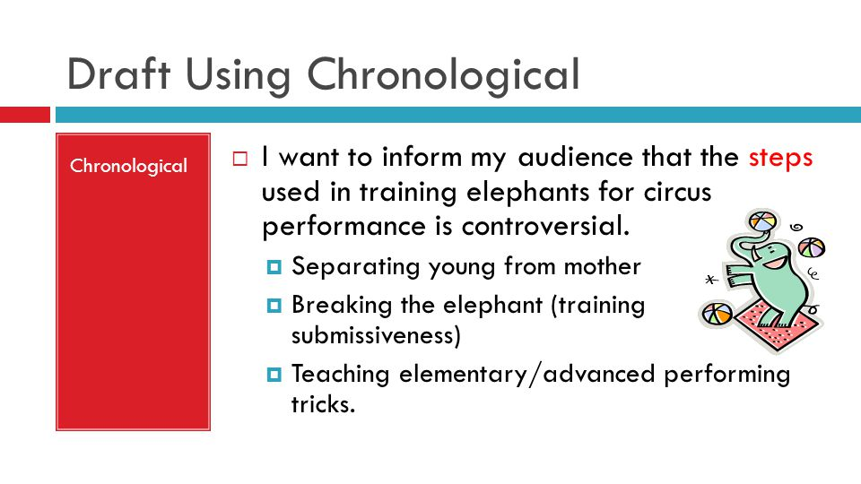 Draft Using Chronological Chronological  I want to inform my audience that the steps used in training elephants for circus performance is controversial.