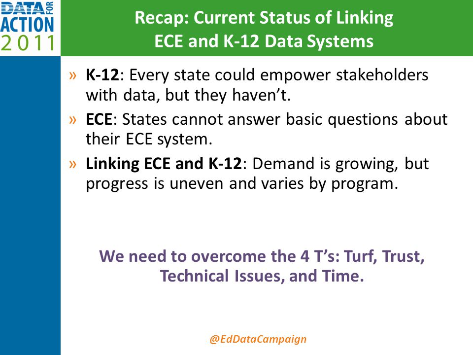 @EdDataCampaign Recap: Current Status of Linking ECE and K-12 Data Systems »K-12: Every state could empower stakeholders with data, but they haven't.