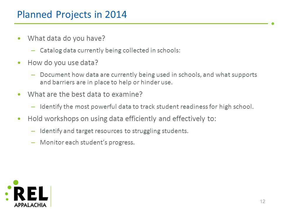 Planned Projects in 2014 What data do you have.