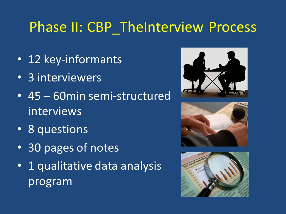 Phase II: CBP_TheInterview Process 12 key-informants 3 interviewers 45 – 60min semi-structured interviews 8 questions 30 pages of notes 1 qualitative data analysis program