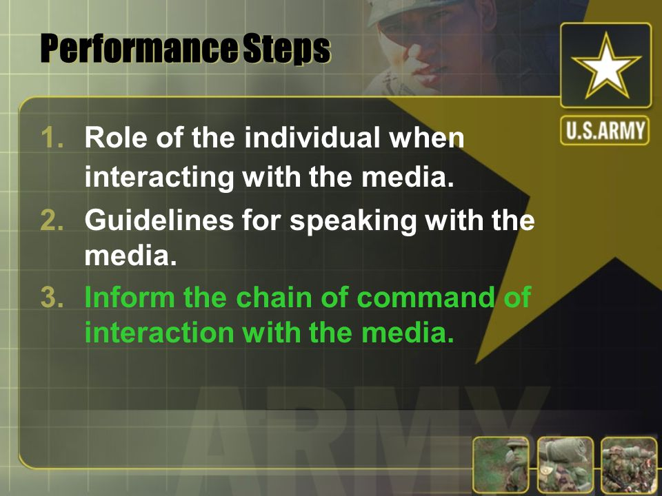 Performance Steps 1.Role of the individual when interacting with the media.