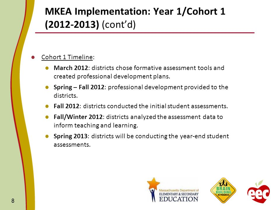 MKEA Implementation: Year 1/Cohort 1 (2012-2013) (cont'd) Cohort 1 Timeline: March 2012: districts chose formative assessment tools and created professional development plans.
