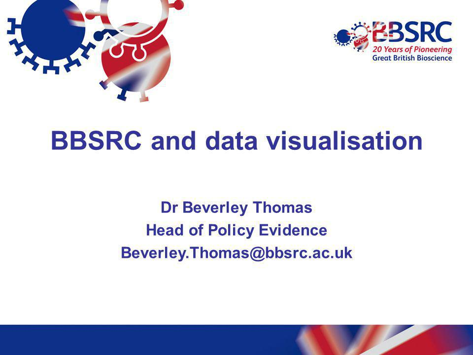 BBSRC and data visualisation Dr Beverley Thomas Head of Policy Evidence Beverley.Thomas@bbsrc.ac.uk