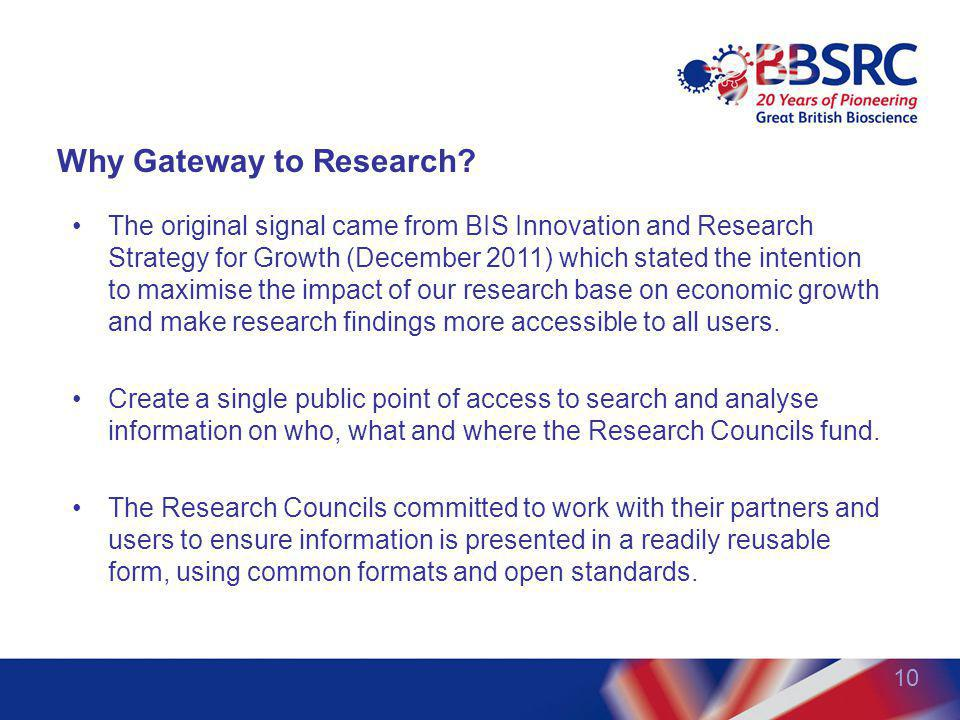 10 Why Gateway to Research? The original signal came from BIS Innovation and Research Strategy for Growth (December 2011) which stated the intention t
