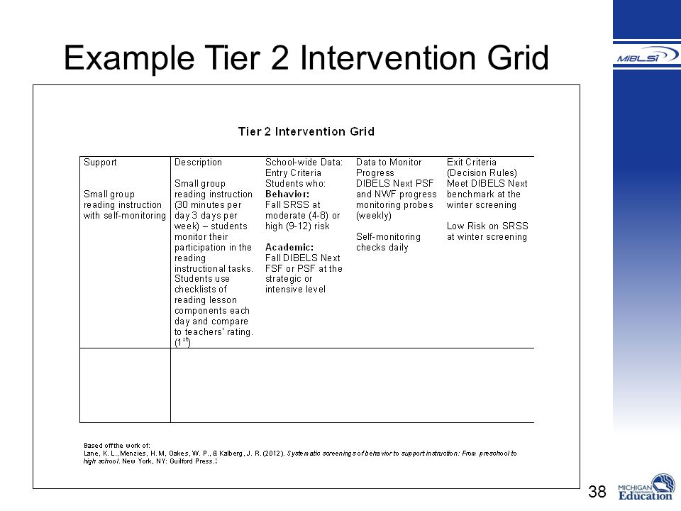 38 Example Tier 2 Intervention Grid