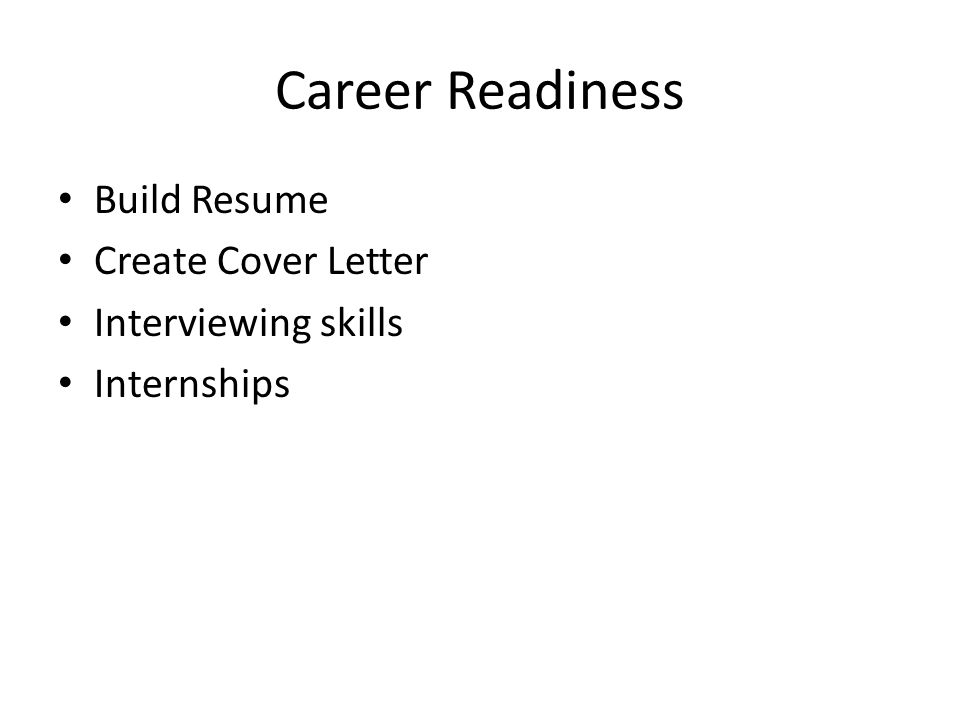 Career Readiness Build Resume Create Cover Letter Interviewing skills Internships