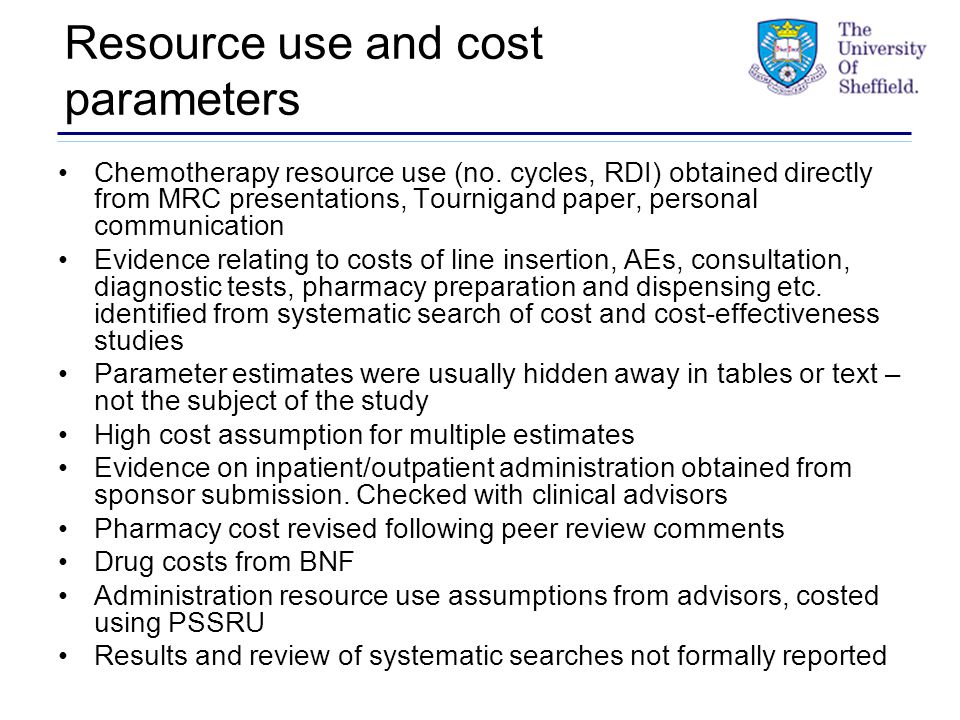 Resource use and cost parameters Chemotherapy resource use (no.