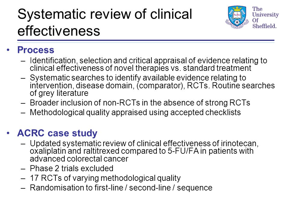 Systematic review of clinical effectiveness Process –Identification, selection and critical appraisal of evidence relating to clinical effectiveness of novel therapies vs.