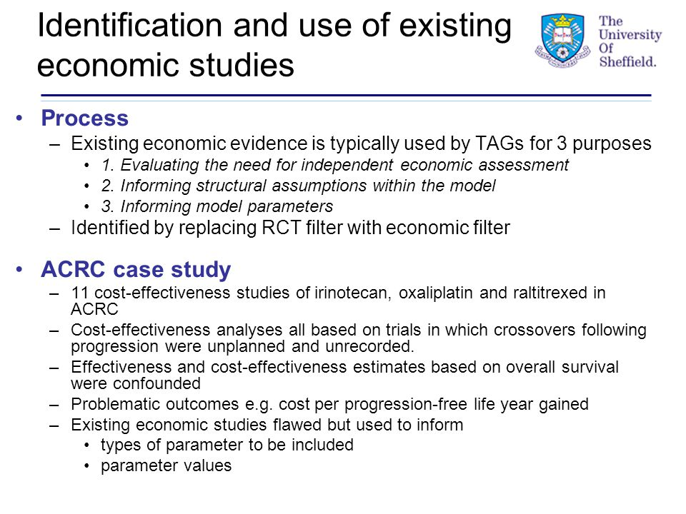 Identification and use of existing economic studies Process –Existing economic evidence is typically used by TAGs for 3 purposes 1.
