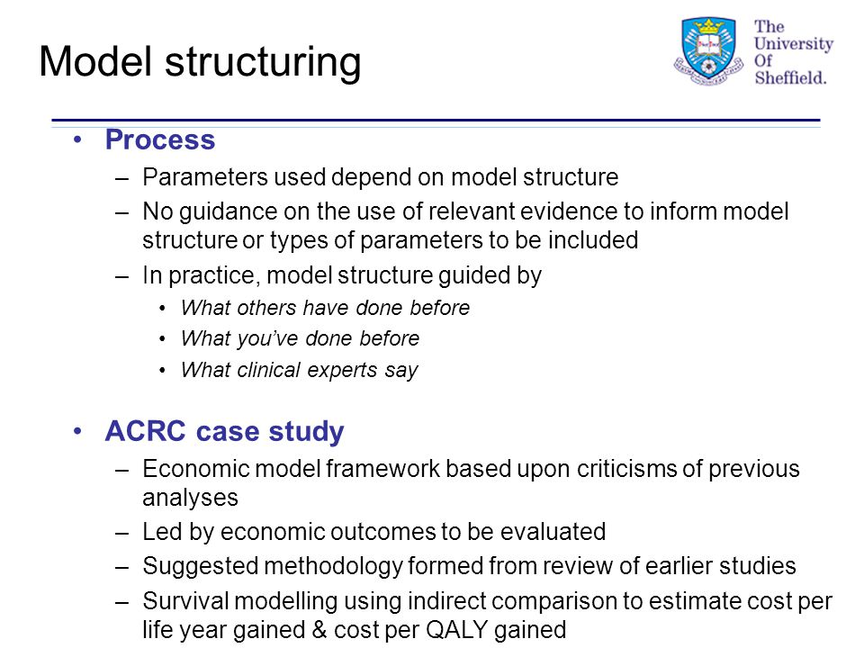 Model structuring Process –Parameters used depend on model structure –No guidance on the use of relevant evidence to inform model structure or types of parameters to be included –In practice, model structure guided by What others have done before What you've done before What clinical experts say ACRC case study –Economic model framework based upon criticisms of previous analyses –Led by economic outcomes to be evaluated –Suggested methodology formed from review of earlier studies –Survival modelling using indirect comparison to estimate cost per life year gained & cost per QALY gained