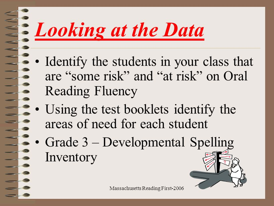 Massachusetts Reading First-2006 Next Steps Using the data, determine what centers will be most useful in your classroom.