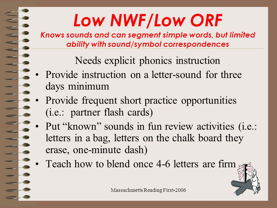 Massachusetts Reading First-2006 Low NWF/Low ORF Knows sounds and can segment simple words, but limited ability with sound/symbol correspondences Needs explicit phonics instruction Provide instruction on a letter-sound for three days minimum Provide frequent short practice opportunities (i.e.: partner flash cards) Put known sounds in fun review activities (i.e.: letters in a bag, letters on the chalk board they erase, one-minute dash) Teach how to blend once 4-6 letters are firm