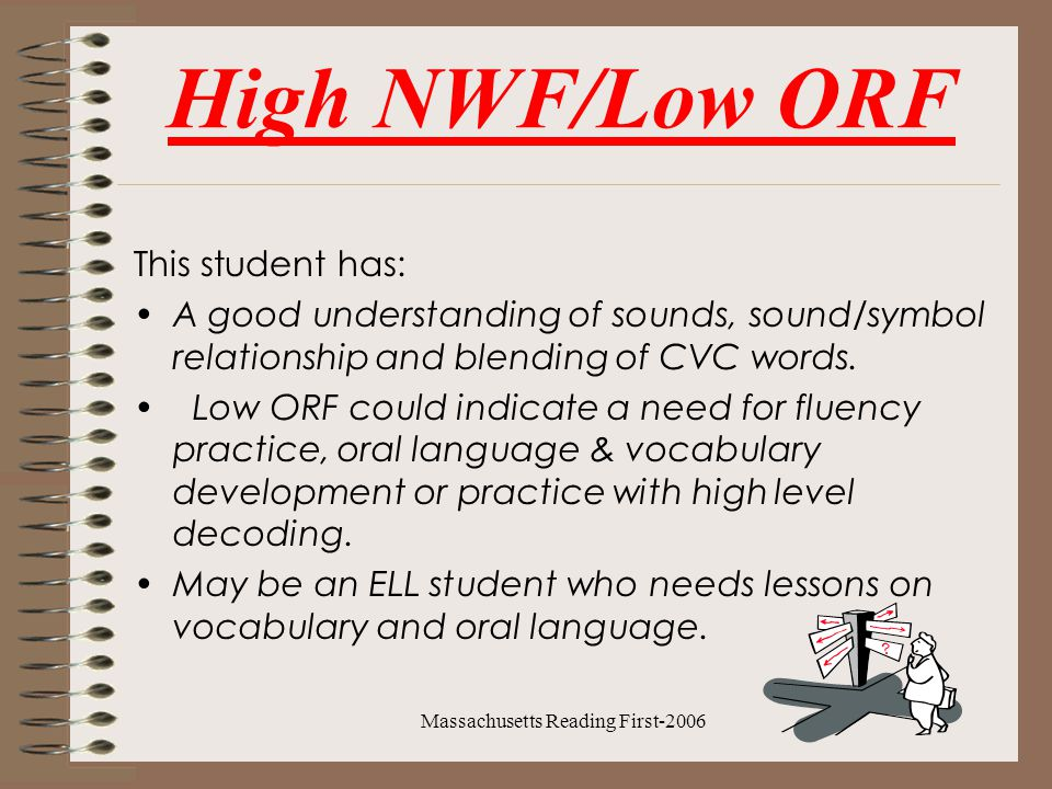 Massachusetts Reading First-2006 High NWF/Low ORF This student has: A good understanding of sounds, sound/symbol relationship and blending of CVC words.
