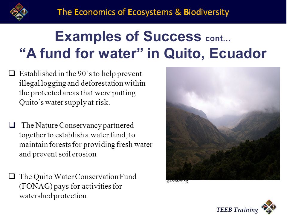 TEEB Training Examples of Success cont… A fund for water in Quito, Ecuador  Established in the 90's to help prevent illegal logging and deforestation within the protected areas that were putting Quito's water supply at risk.