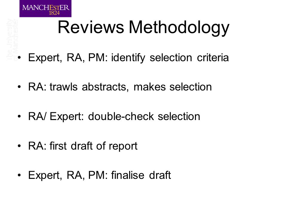 Reviews Methodology Expert, RA, PM: identify selection criteria RA: trawls abstracts, makes selection RA/ Expert: double-check selection RA: first dra
