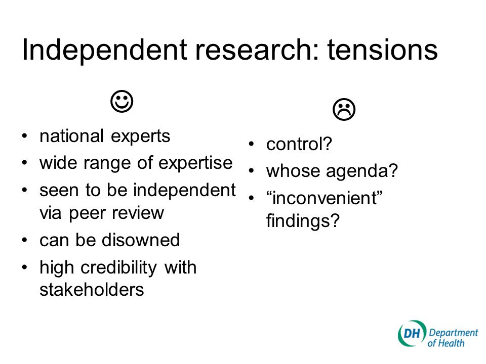 national experts wide range of expertise seen to be independent via peer review can be disowned high credibility with stakeholders  control.