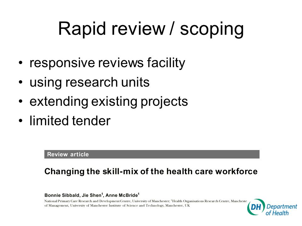 Rapid review / scoping responsive reviews facility using research units extending existing projects limited tender