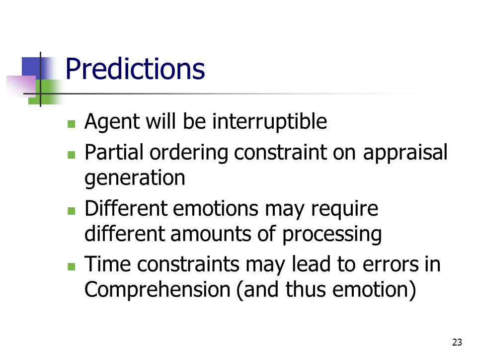 23 Predictions Agent will be interruptible Partial ordering constraint on appraisal generation Different emotions may require different amounts of processing Time constraints may lead to errors in Comprehension (and thus emotion)