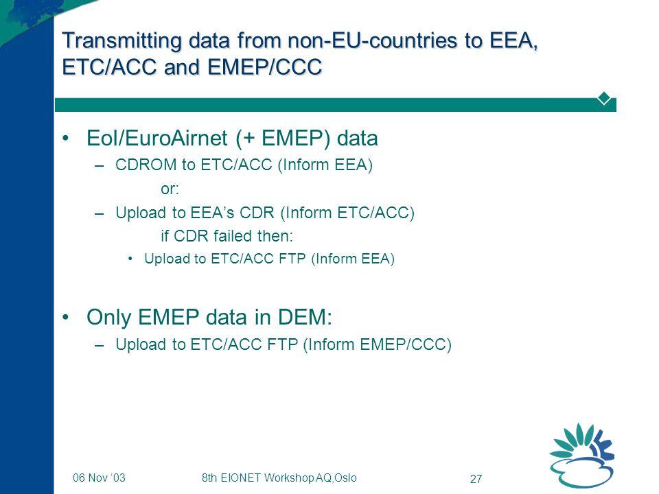 8th EIONET Workshop AQ,Oslo 27 06 Nov '03 Transmitting data from non-EU-countries to EEA, ETC/ACC and EMEP/CCC EoI/EuroAirnet (+ EMEP) data –CDROM to