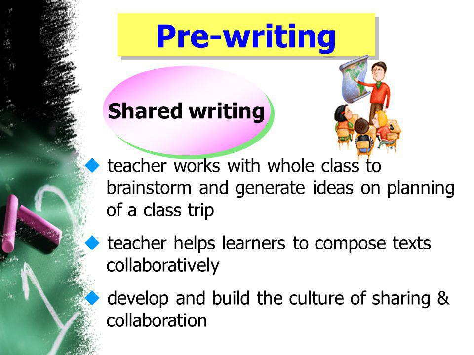 Pre-writing Shared writing  teacher works with whole class to brainstorm and generate ideas on planning of a class trip  teacher helps learners to compose texts collaboratively  develop and build the culture of sharing & collaboration
