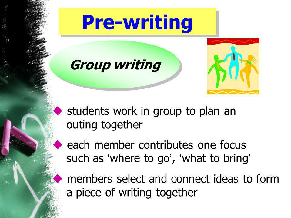Pre-writing Group writing  students work in group to plan an outing together  each member contributes one focus such as ' where to go ', ' what to bring '  members select and connect ideas to form a piece of writing together