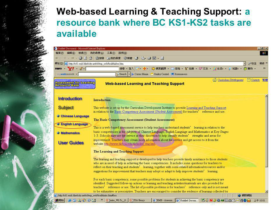 Web-based Learning & Teaching Support: a resource bank where BC KS1-KS2 tasks are available
