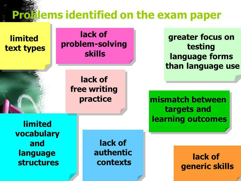 Problems identified on the exam paper limited text types greater focus on testing language forms than language use limited vocabulary and language structures limited vocabulary and language structures lack of free writing practice lack of generic skills lack of authentic contexts lack of problem-solving skills mismatch between targets and learning outcomes