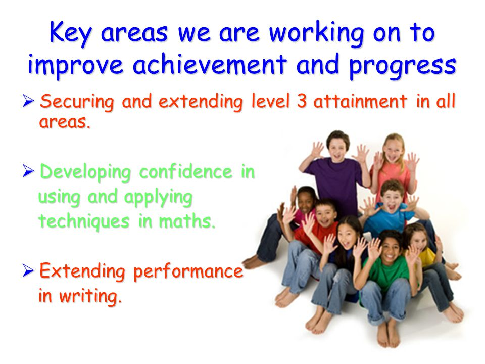 Key areas we are working on to improve achievement and progress  Securing and extending level 3 attainment in all areas.  Developing confidence in u