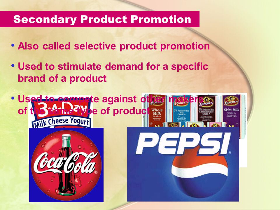 Primary Product Promotion Aims to stimulate demand, or consumer desire, for an entire class of goods or services Emphasis is on the product and its uses, rather than on a particular brand.