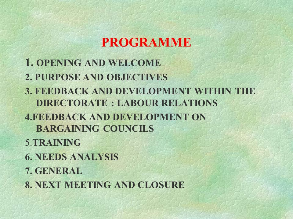 DIRECTORATE: LABOUR RELATIONS 2 HOUR SESSION ON LABOUR RELATIONS FORUMS