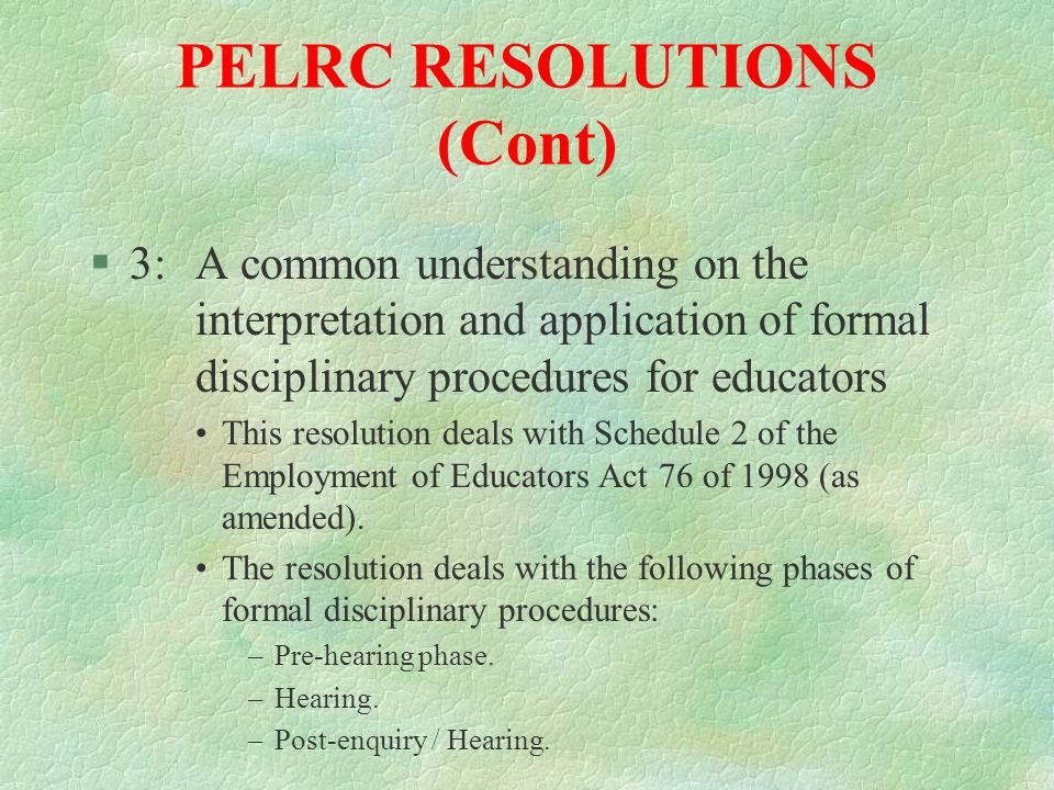 PELRC RESOLUTIONS (cont) §2:Terms of reference for the Western Cape Provincial Chamber's Standing Committee (STANCO) By means of this resolution STANCO was established in terms of a decision of chamber adopted at its (AGM) on 6 August 2001.