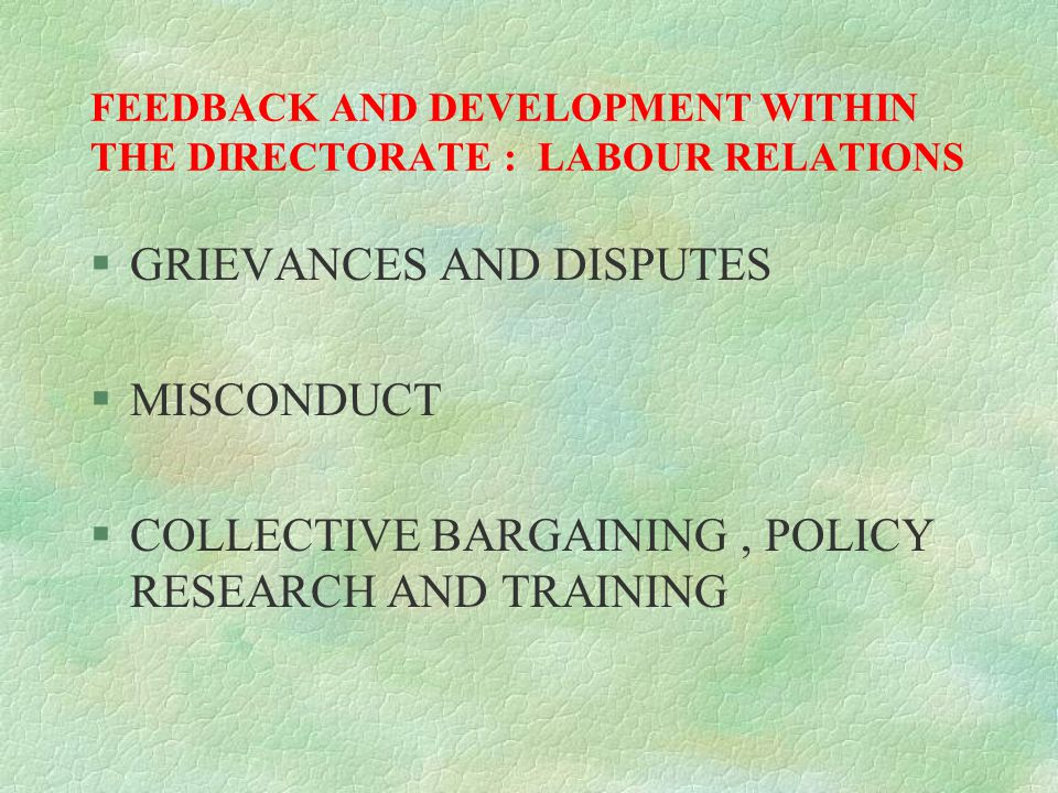FEEDBACK AND DEVELOPMENT WITHIN THE DIRECTORATE : LABOUR RELATIONS §GRIEVANCES AND DISPUTES §MISCONDUCT §COLLECTIVE BARGAINING, POLICY RESEARCH AND TRAINING