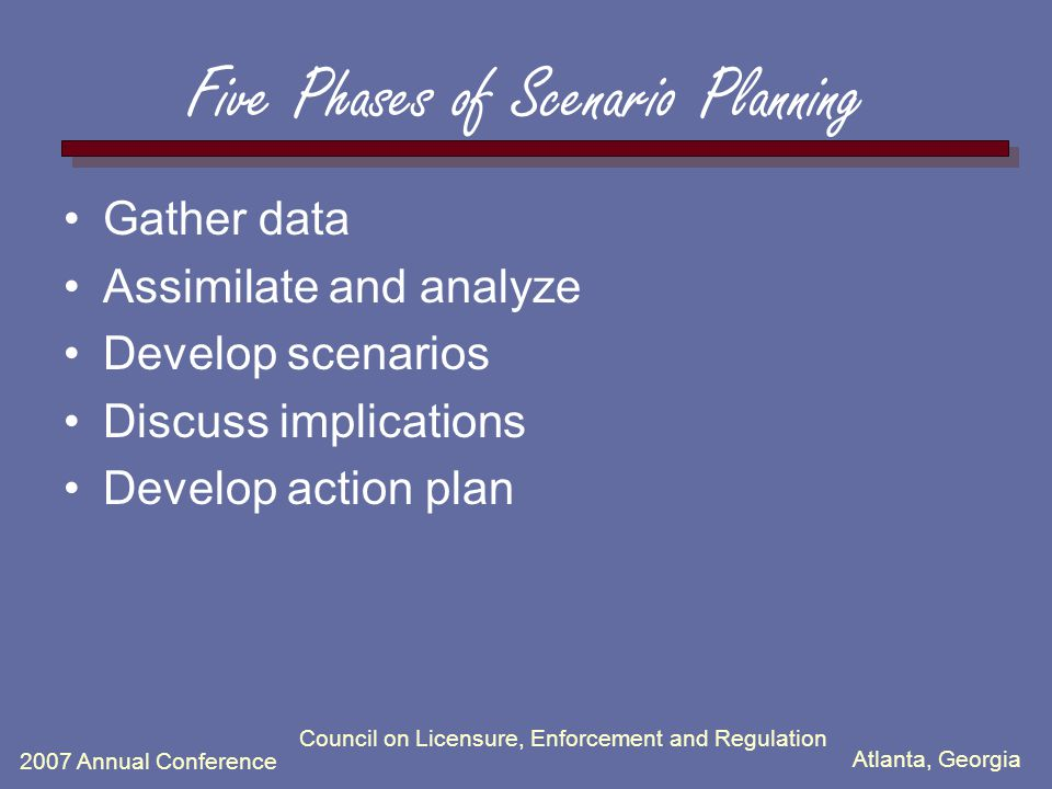 Atlanta, Georgia 2007 Annual Conference Council on Licensure, Enforcement and Regulation Five Phases of Scenario Planning Gather data Assimilate and analyze Develop scenarios Discuss implications Develop action plan