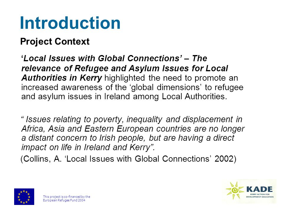 This project is co-financed by the European Refugee Fund 2004 Proposal for Training Workshops Training Workshops  Incorporating information provision and awareness raising  Input from invited speakers  Resource packs Evaluation  Assessing the impact, quality and cost effectiveness of the project