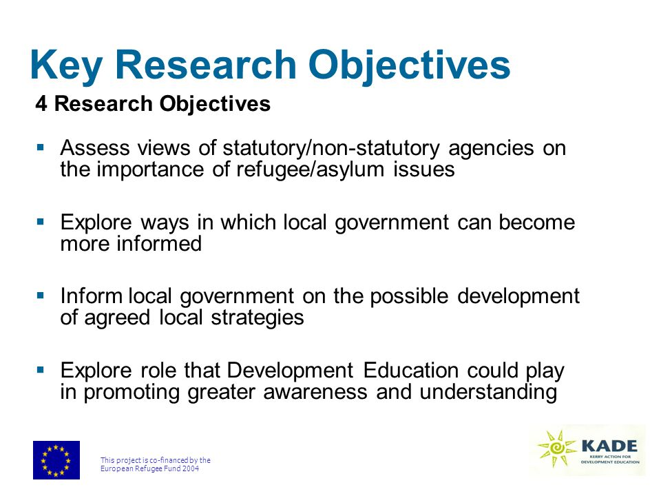 This project is co-financed by the European Refugee Fund 2004 Key Research Objectives 4 Research Objectives  Assess views of statutory/non-statutory agencies on the importance of refugee/asylum issues  Explore ways in which local government can become more informed  Inform local government on the possible development of agreed local strategies  Explore role that Development Education could play in promoting greater awareness and understanding