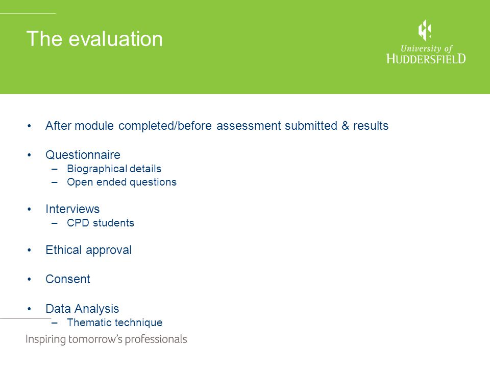 The evaluation After module completed/before assessment submitted & results Questionnaire –Biographical details –Open ended questions Interviews –CPD