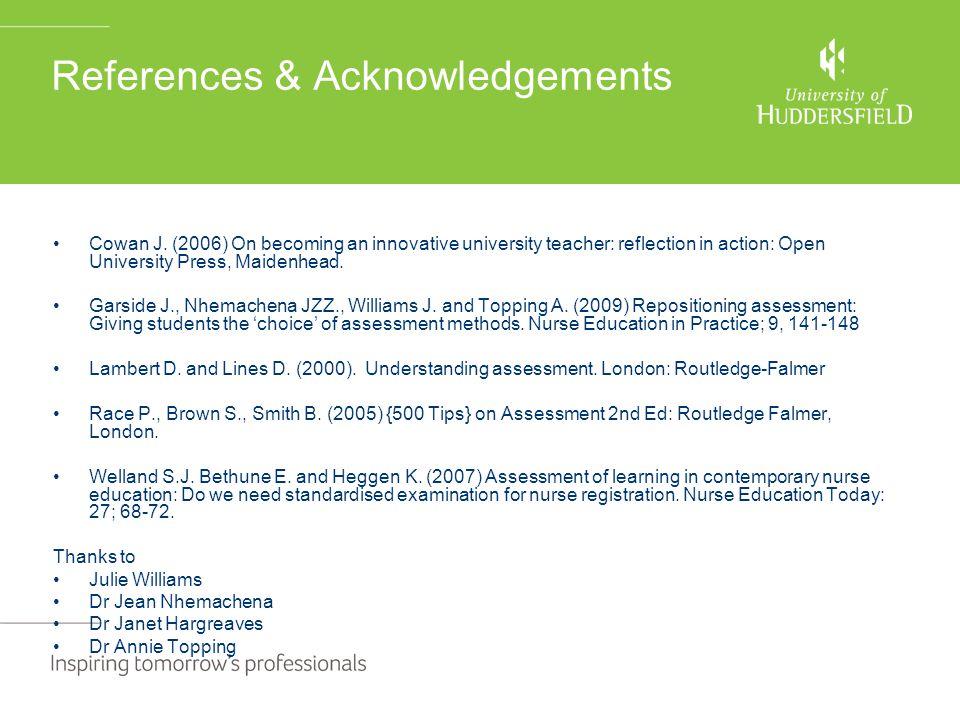 References & Acknowledgements Cowan J.