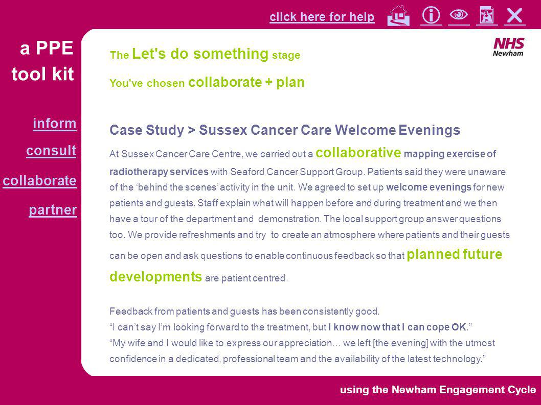 tool kit a PPE click here for help collaborate partner inform consult        using the Newham Engagement Cycle You've chosen consult + mon