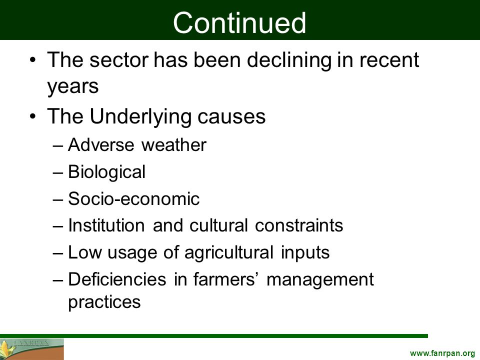 Continued The sector has been declining in recent years The Underlying causes –Adverse weather –Biological –Socio-economic –Institution and cultural constraints –Low usage of agricultural inputs –Deficiencies in farmers' management practices