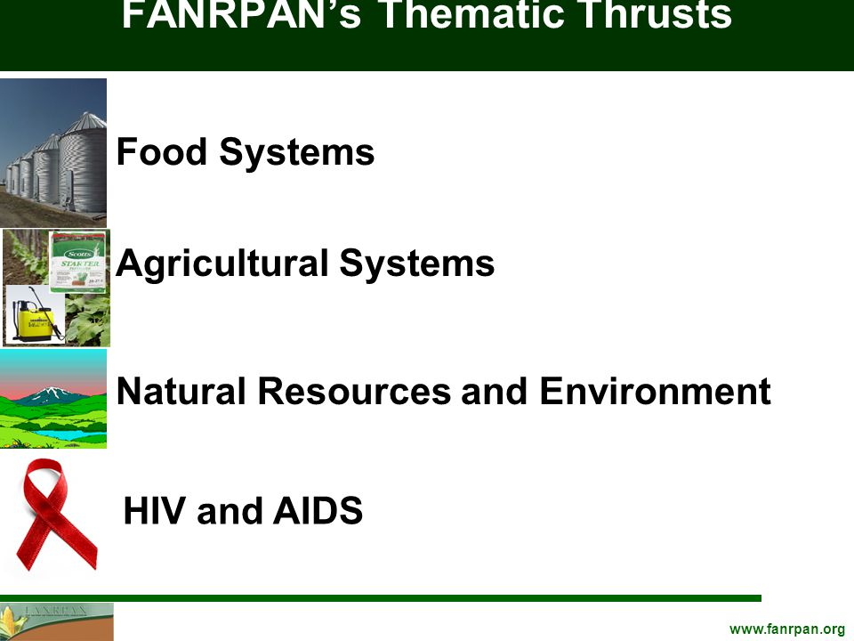 FANRPAN's Thematic Thrusts Natural Resources and Environment Food Systems Agricultural Systems HIV and AIDS