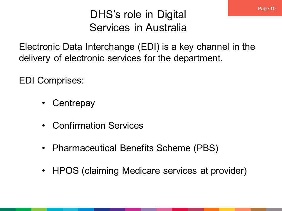 Page 10 DHS's role in Digital Services in Australia Electronic Data Interchange (EDI) is a key channel in the delivery of electronic services for the department.