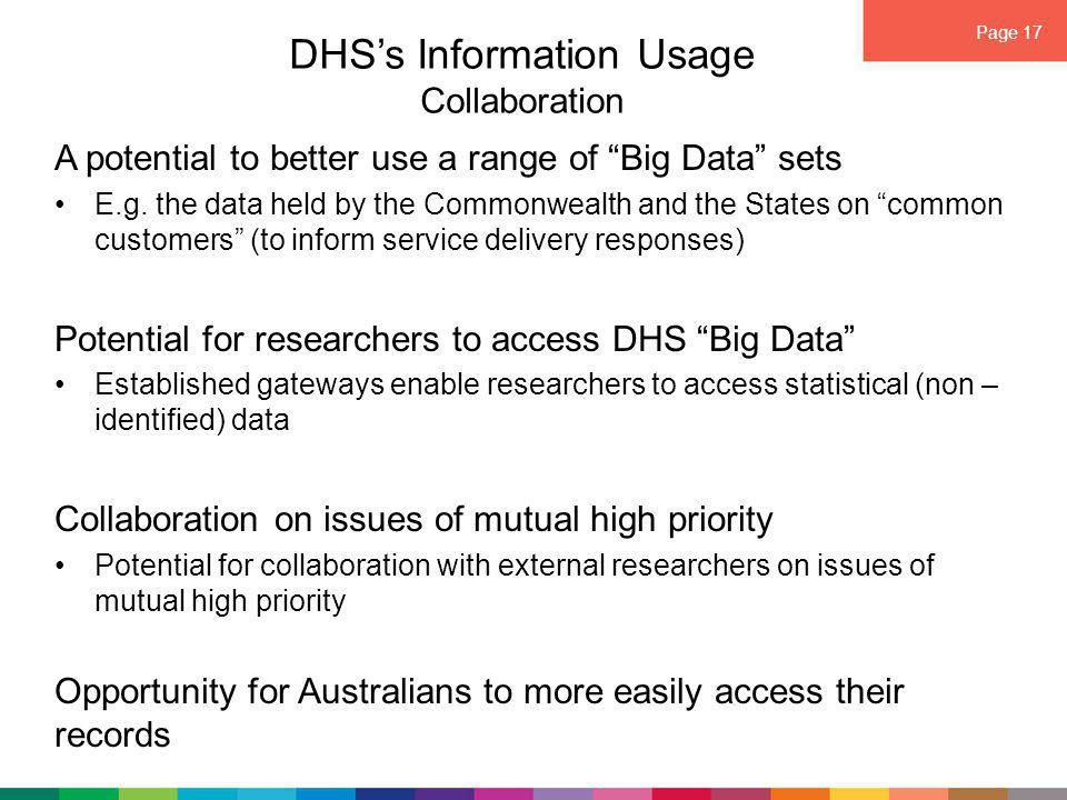 Page 17 DHS's Information Usage Collaboration A potential to better use a range of Big Data sets E.g.