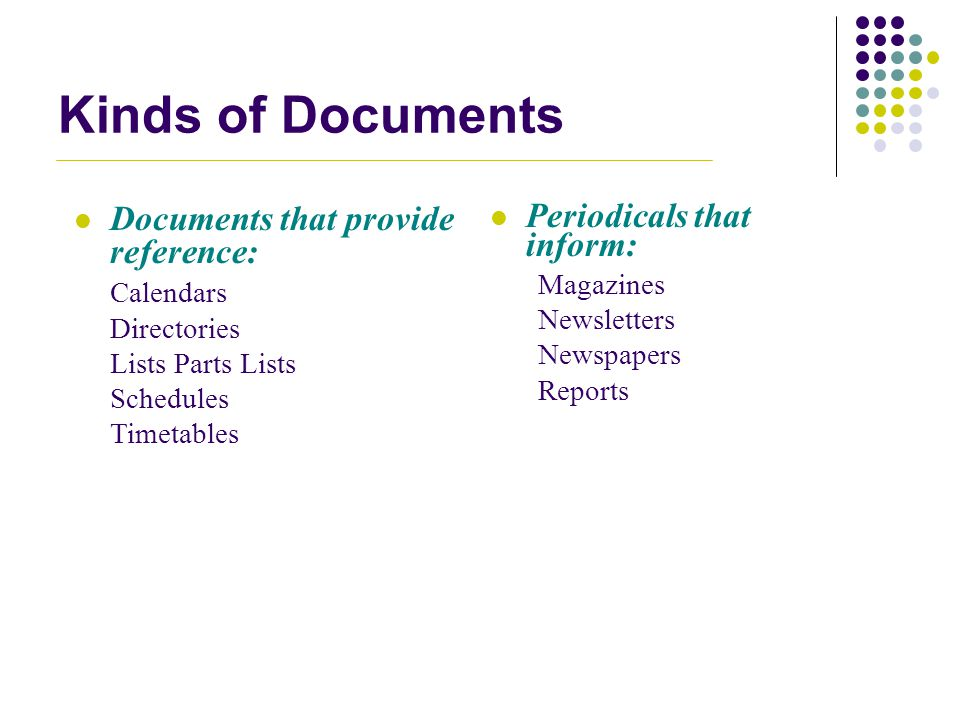 Kinds of Documents Documents that provide reference: Calendars Directories Lists Parts Lists Schedules Timetables Periodicals that inform: Magazines N