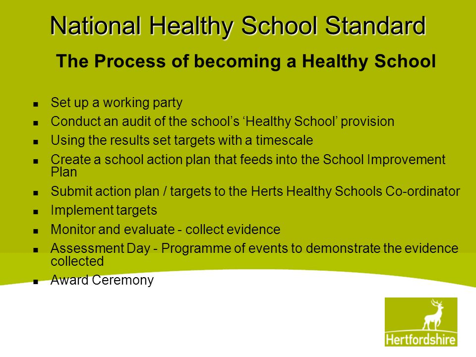 National Healthy School Standard The Process of becoming a Healthy School Set up a working party Conduct an audit of the school's 'Healthy School' pro